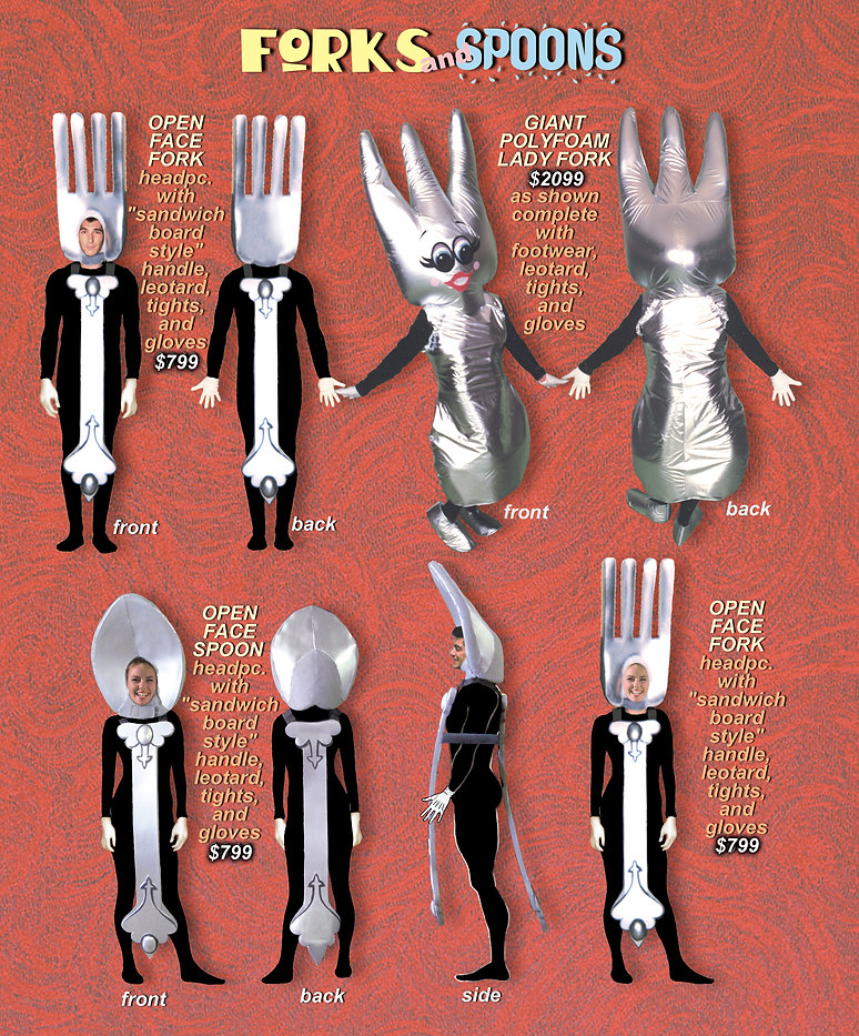 Facemakers Forks-Spoons Mascot Costumes