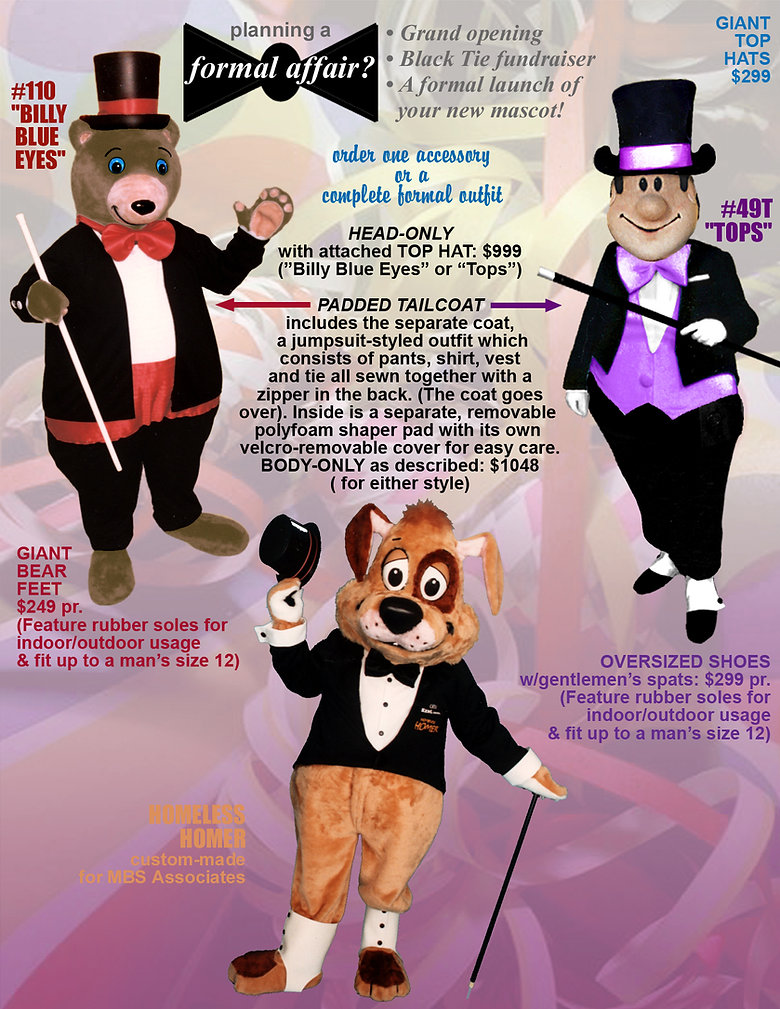 Facemakers Mascot Costume tuxes