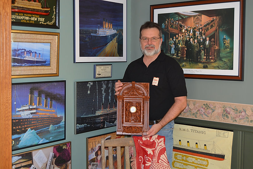 Luc Patenaude of Quebec with the Medium Titanic Clock replica given to him by his wife.