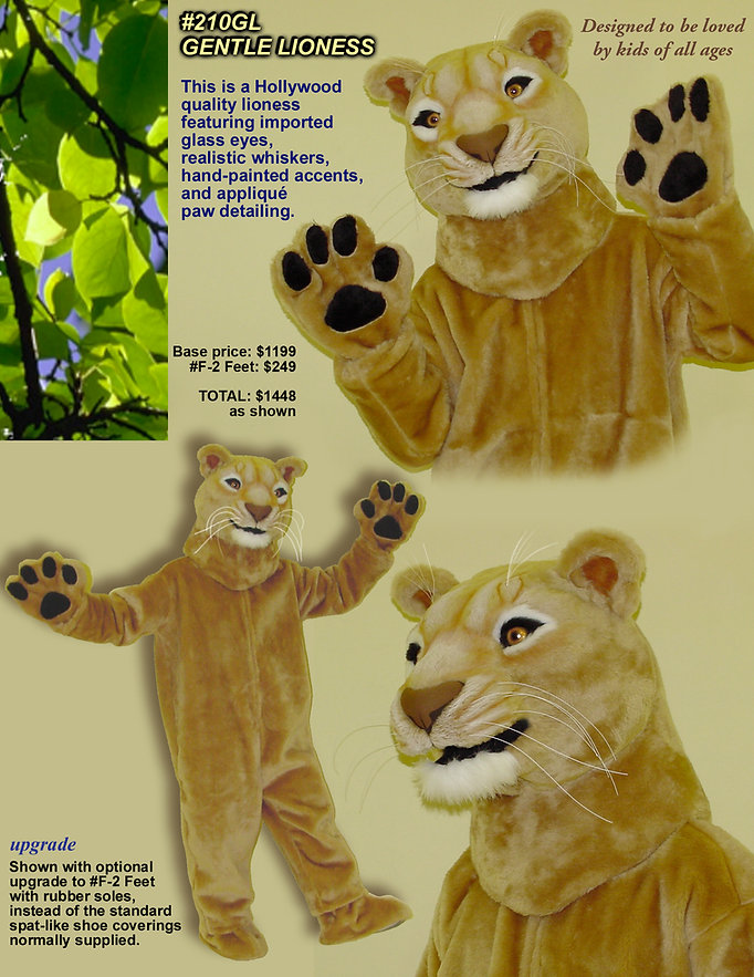 Facemakers Lioness Mascot Costumes