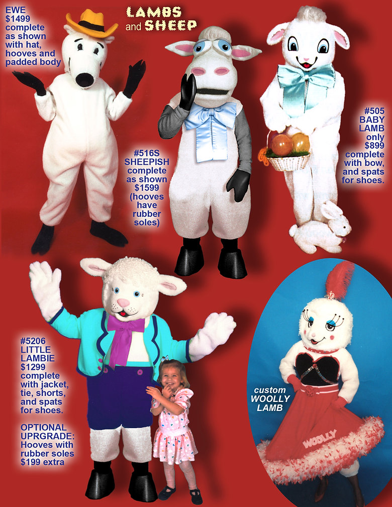 Facemakers Lamb Mascot Costumes