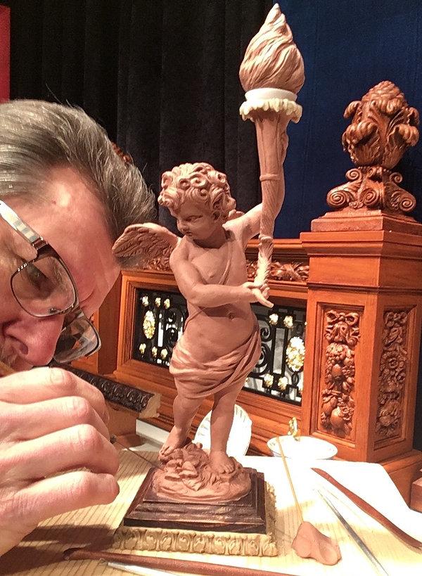 Sculpting RMS Titanic's cherub lamp in miniature