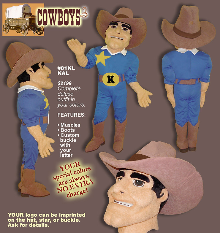 Facemakers Cowboy Mascot Costumes