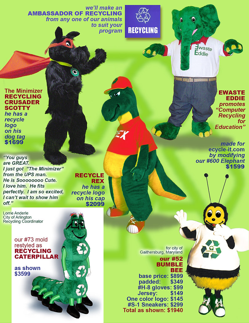 Facemakers Ecology Mascot Costumes
