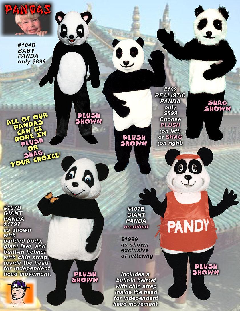 Facemakers Panda Bear Mascot Costumes