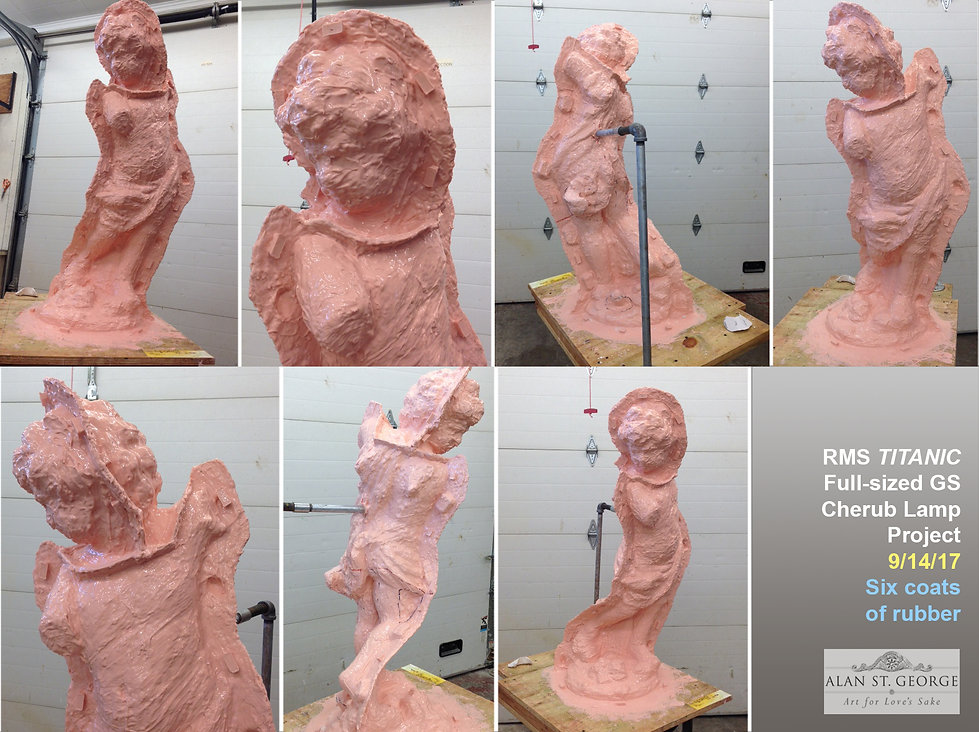 Barely recognizable the Titanic cherub is now coverd in six coats of rubber.