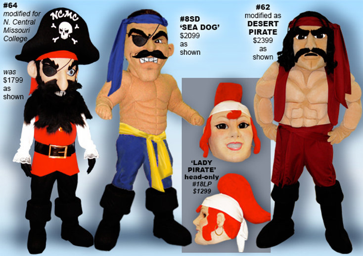 Facemakers Pirate Mascot Costumes
