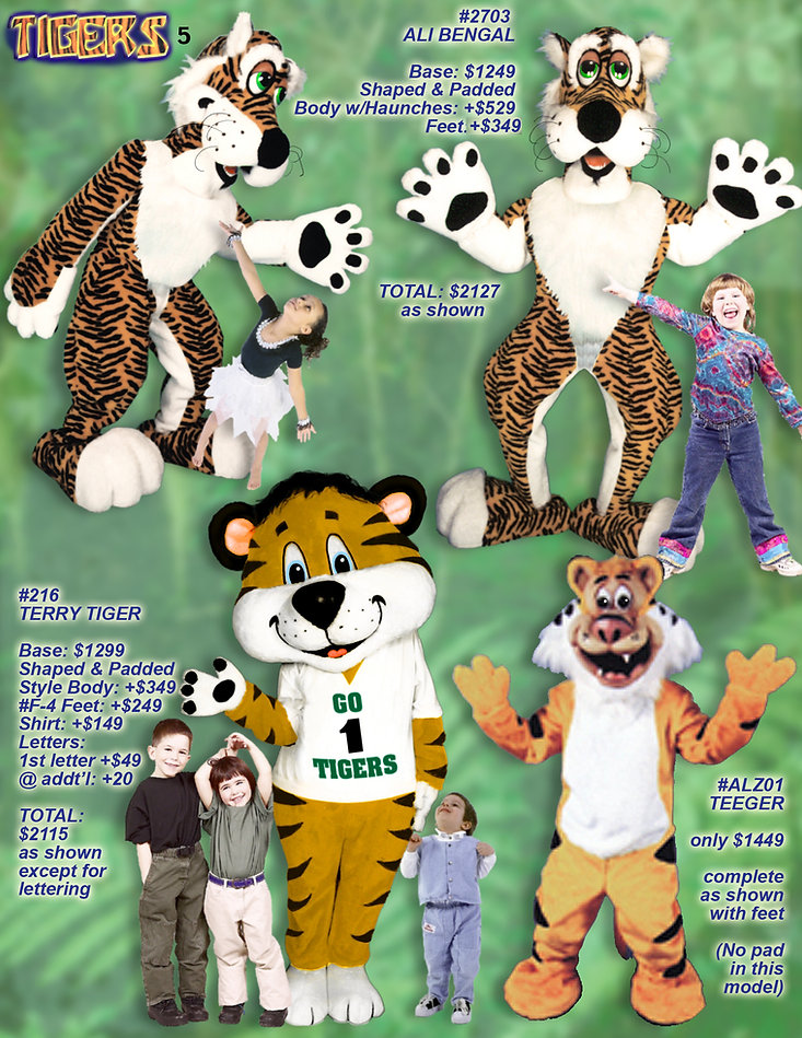 Facemakers lovable tiger mascot costumes