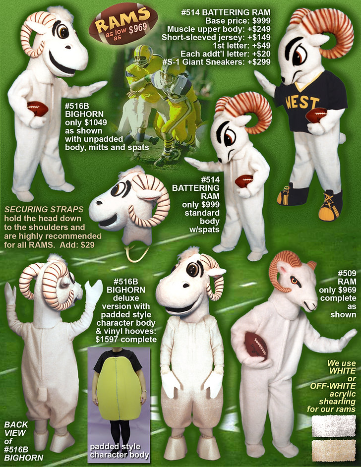 Facemakers Ram Mascot Costumes