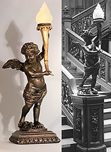 RMS Titanic cherub lamp. Museum-quality handcrafted resin cast for your collection