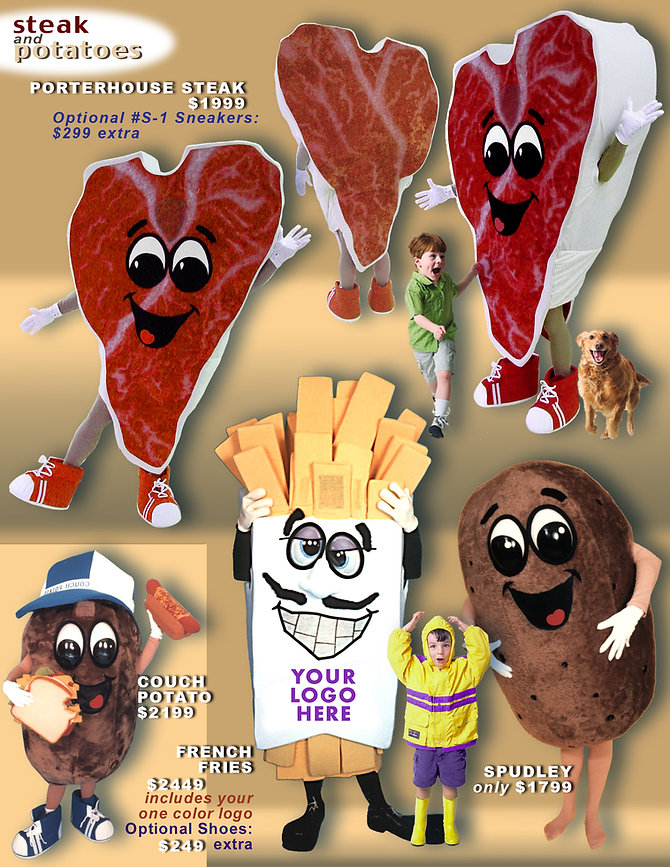 Facemakers French frie Mascot Costumes