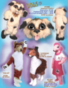 Facemakers Collie Poodle Dog mascot costumes