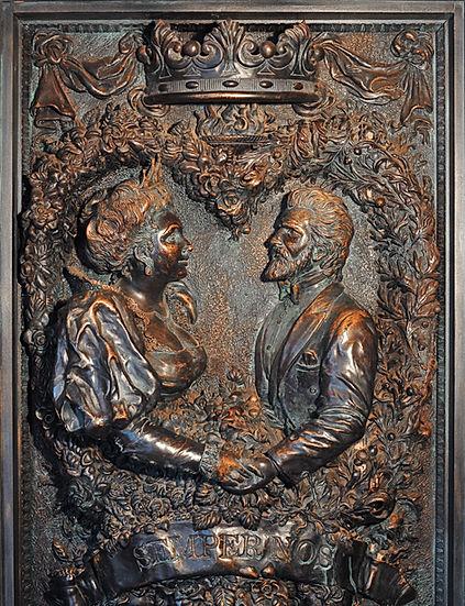 """Detail of a relief sculpture of Mr. and Mrs. Alan St. George at Havencrest Castle entitled: """"Semper Nos"""""""