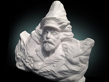 Titanic Captain EJ Smith and the Iceberg Sculpture by Alan St George. Carved into the iceberg that sunk his ship.