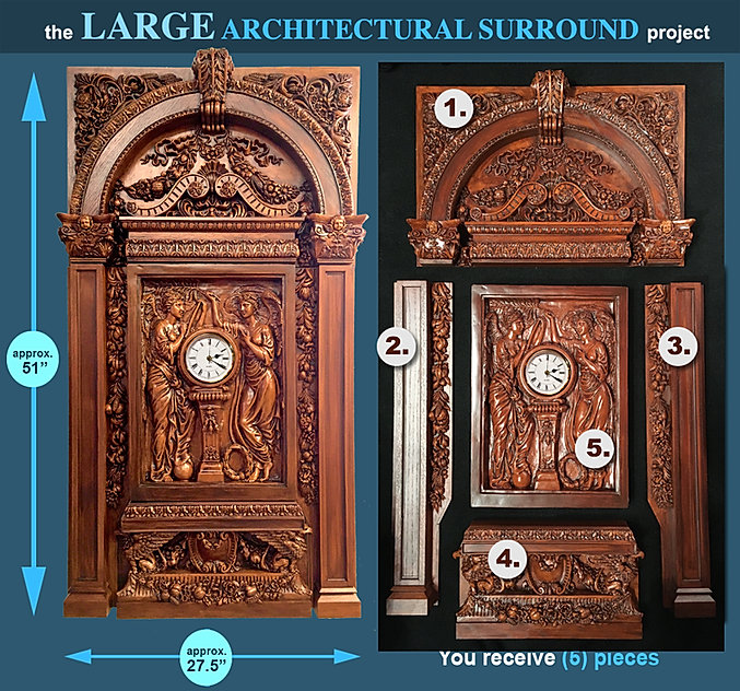Large Titanic Clock Architectural Surround Project. Over 53 inches tall!