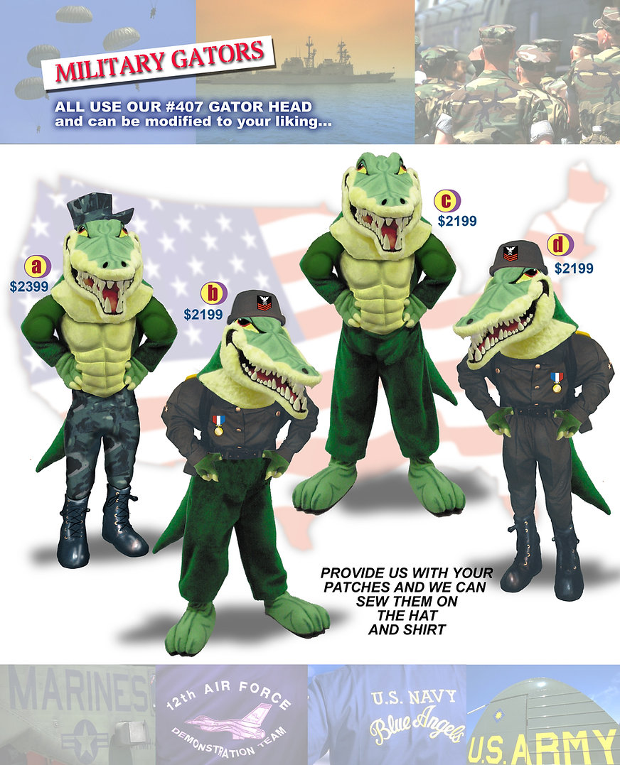 Facemakers Military Gators Mascot Costumes