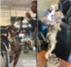 Bronze Titanic cherub replica parts are joined together.