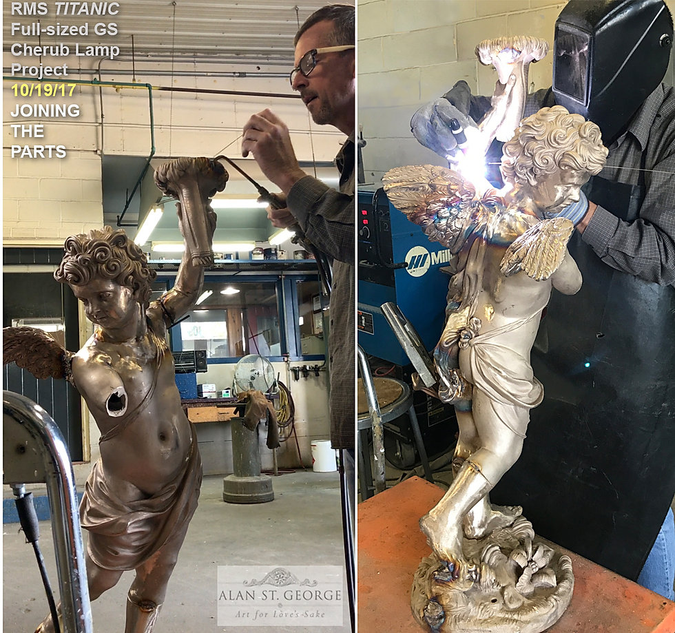 Bronze Titanic cherub replica parts are joined together.
