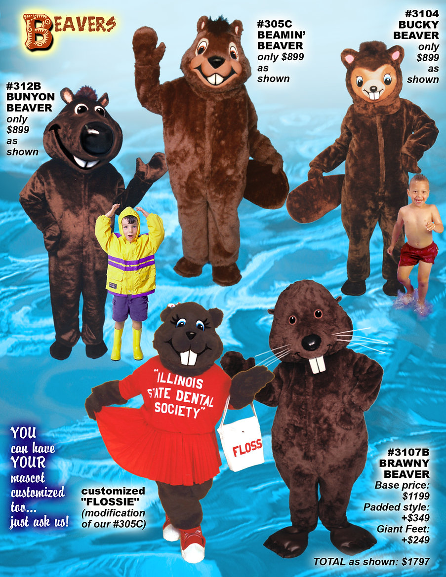 Facemakers Beaver Mascot Costumes