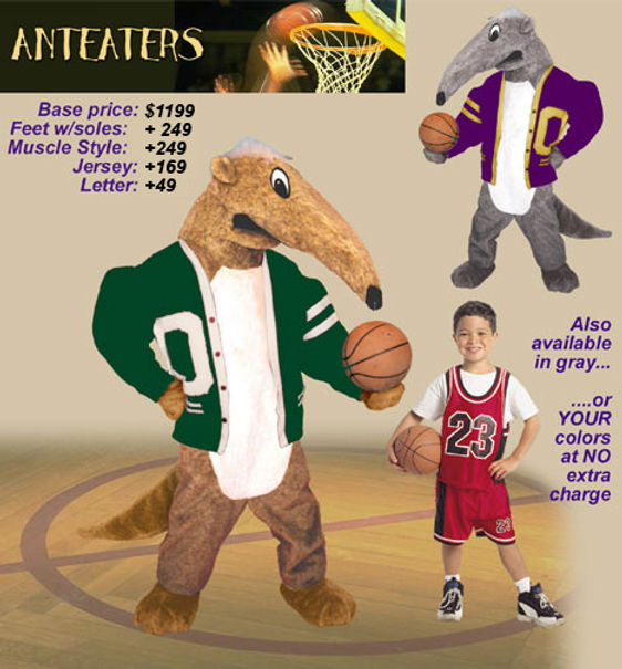 Facemakers anteaters mascot costumes