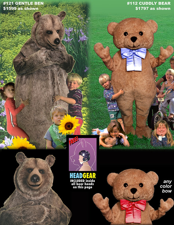 Facemakers gentle bear mascot costumes