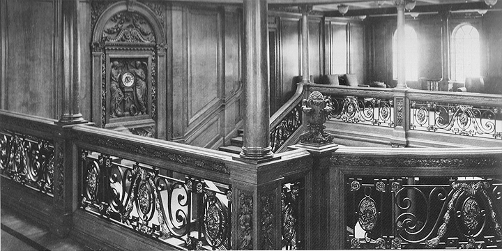 Grand Staircase balustrade and clock