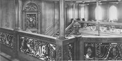 Grand Staircase balustrade and clock