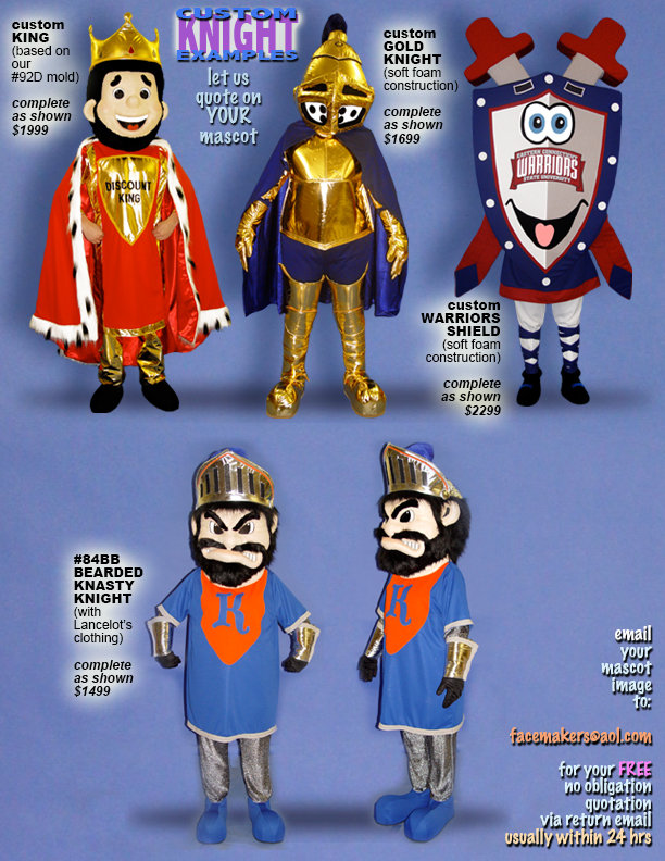 Facemakers Knight Mascot Costumes