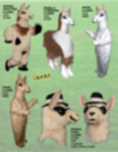 Facemakers Llama Mascot Costumes