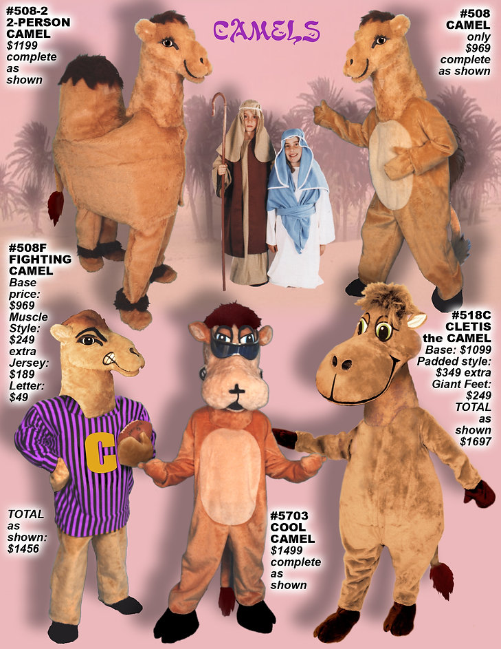 Facemakers Camel Mascot Costumes