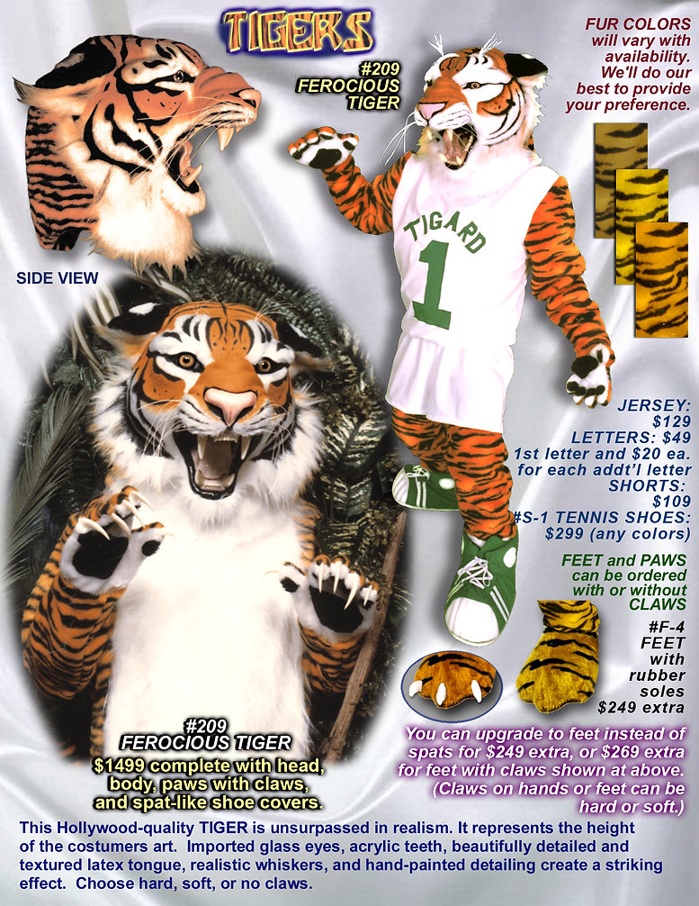 Facemakers ferocious tiger mascot costumes
