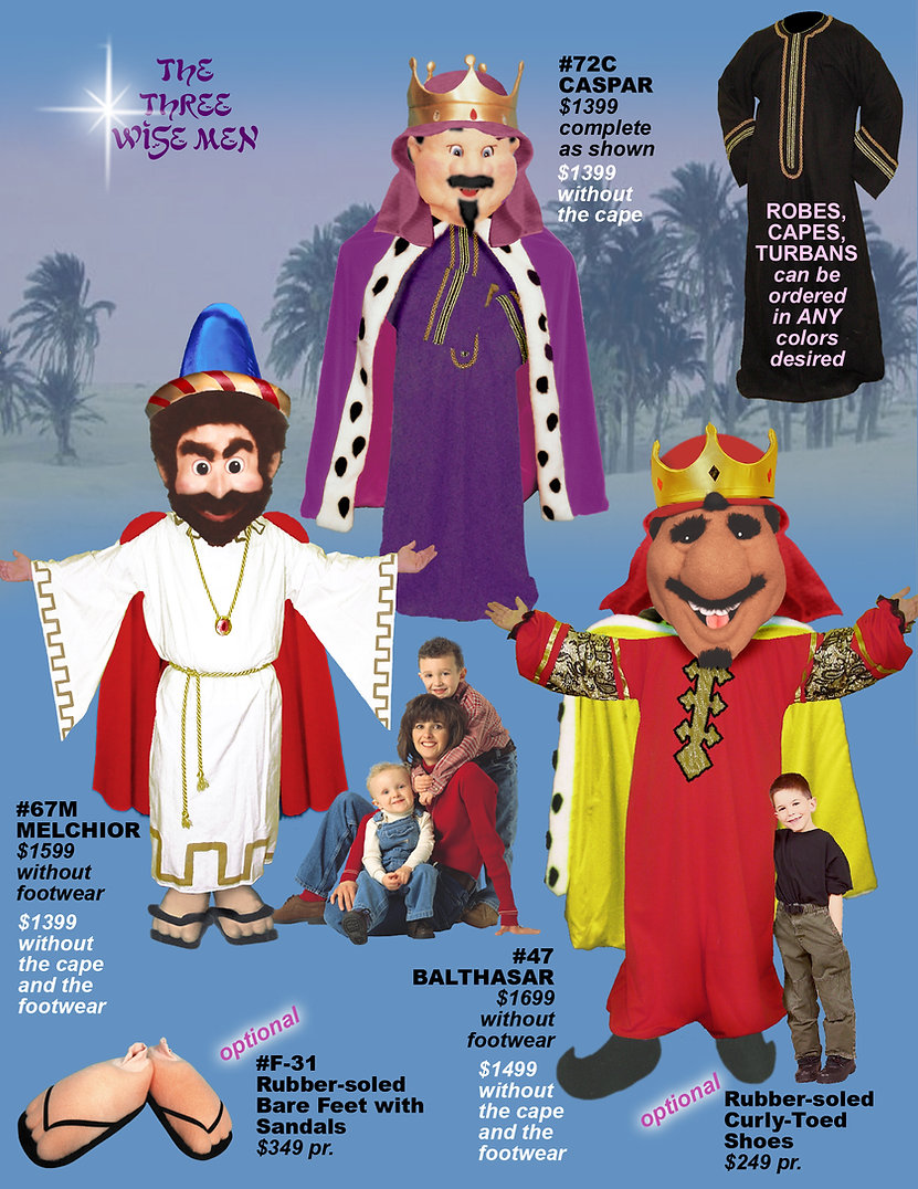 Facemakers 3 Wise Men Mascot Costumes
