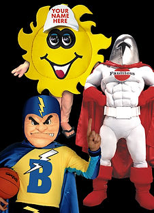 Sun and superhero mascot costumes