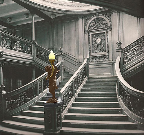 Titanic's forward Grand Staircase Cherub in color.