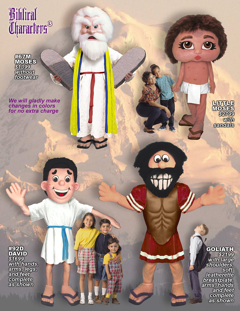 Facemakers Bible Character Mascot Costumes