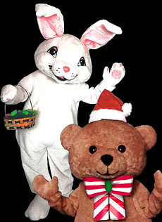 Easter bunny and teddy bear mascot costumes