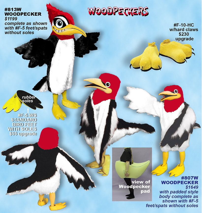 Facemakers Woodpecker Mascot Costumes