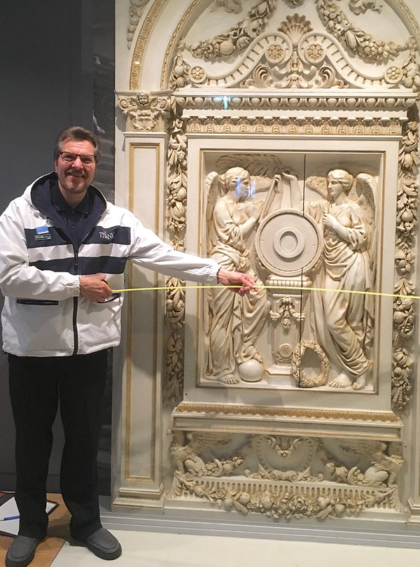 Titanic Sculptor Alan St George measures RMS Olympic's H&G at Southampton in preparation for making a full-sized recreation.