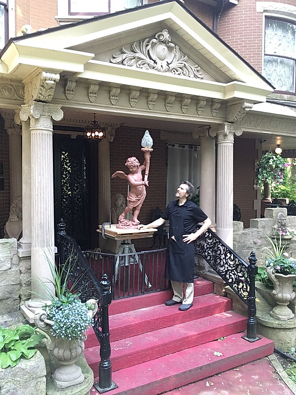 At Havencrest Castle the Titanic cherub lamp ready for the foundry 7-22-17