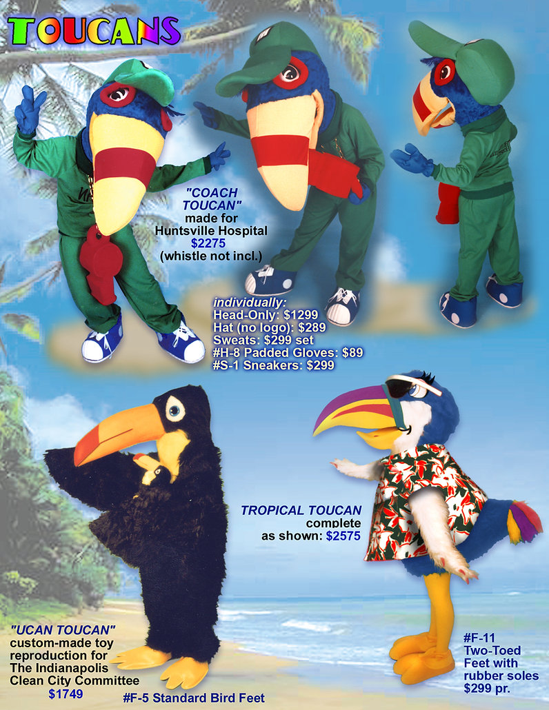 Facemakers toucan mascot costumes