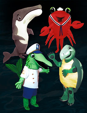 whale and turtle mascot costumes
