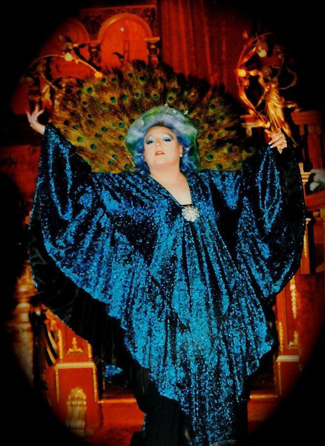 Adrianne St. George wears the Peacock Caftan at one of the first Humane Society fundraisers she hosted in the early 80s at Havencrest Castle