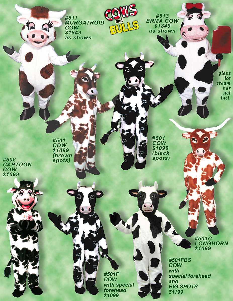 Facemakers Cow and Bull mascot costumes