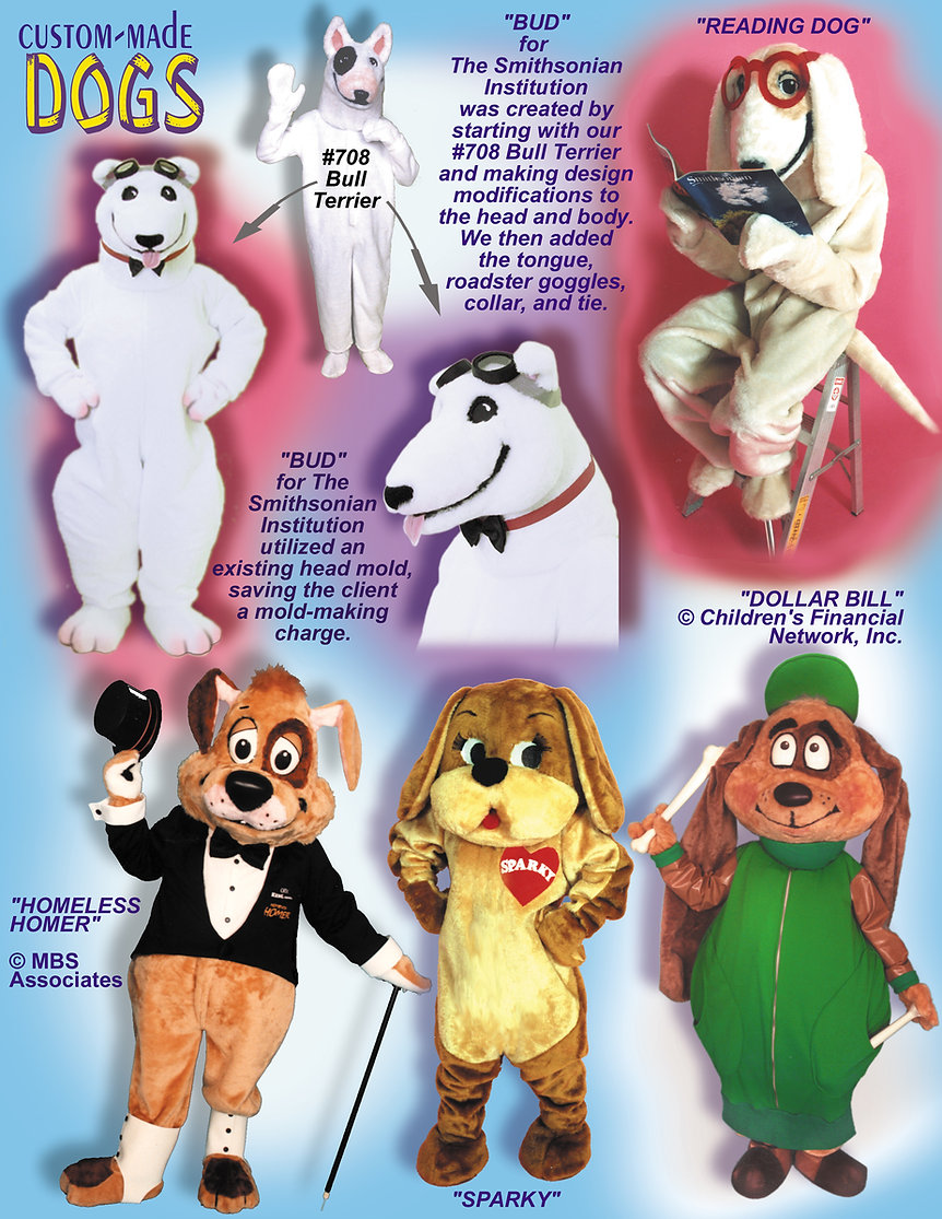 Facemakers Homeless custom-made dog mascot costumes