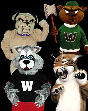 bulldog and wildcat mascot costumes