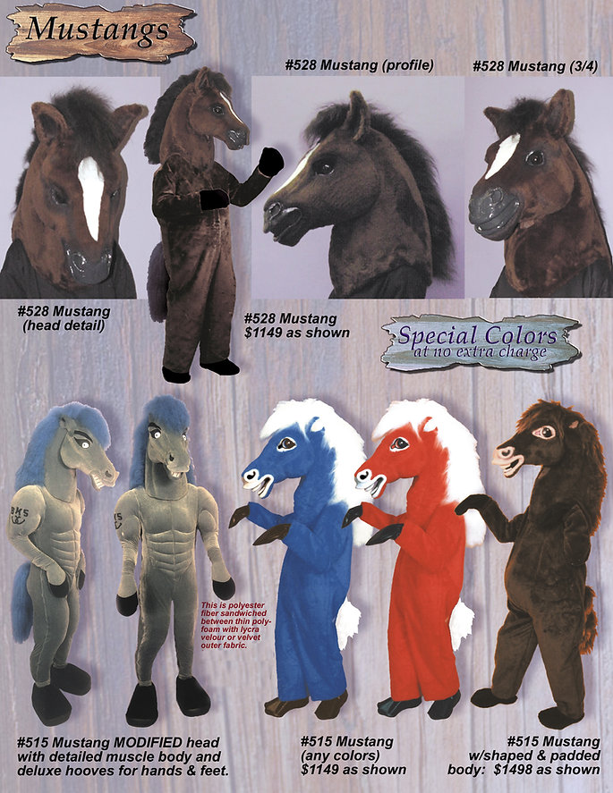 Facemakers Mustang School Mascot Costumes