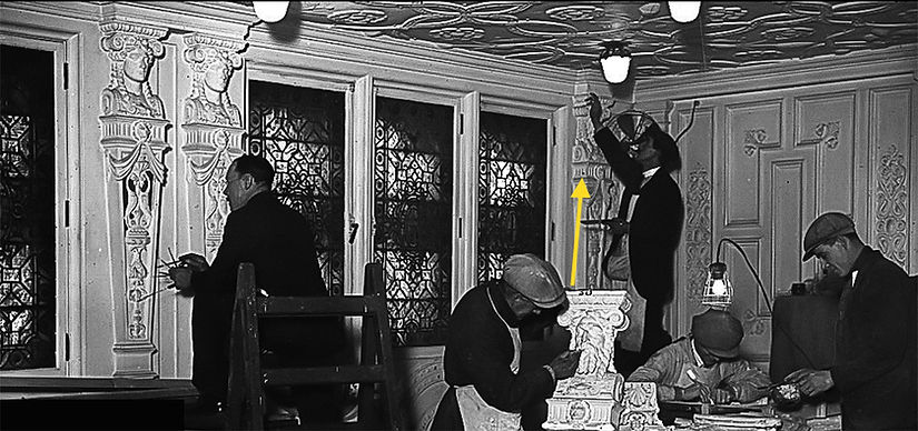 Plasterworkers re-decorating RMS Olympic in 1929. Goddess and god caryatids were featured in the first-class dining room.