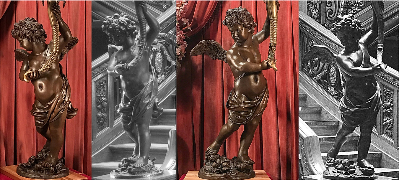 Faithful full-sized Bronze Titanic cherub lamp replica for world-class collections and venues