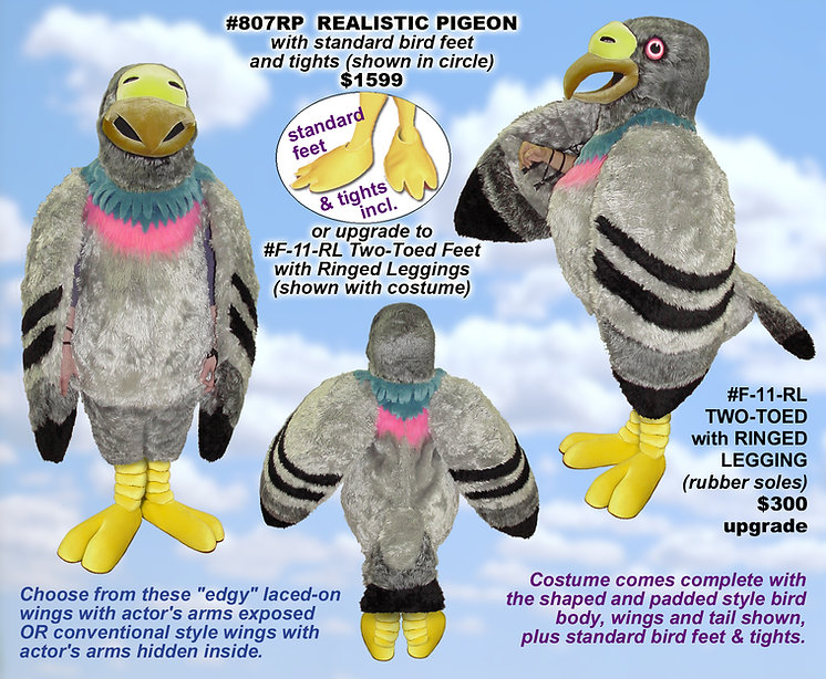 Facemakers Pigeon Mascot Costumes