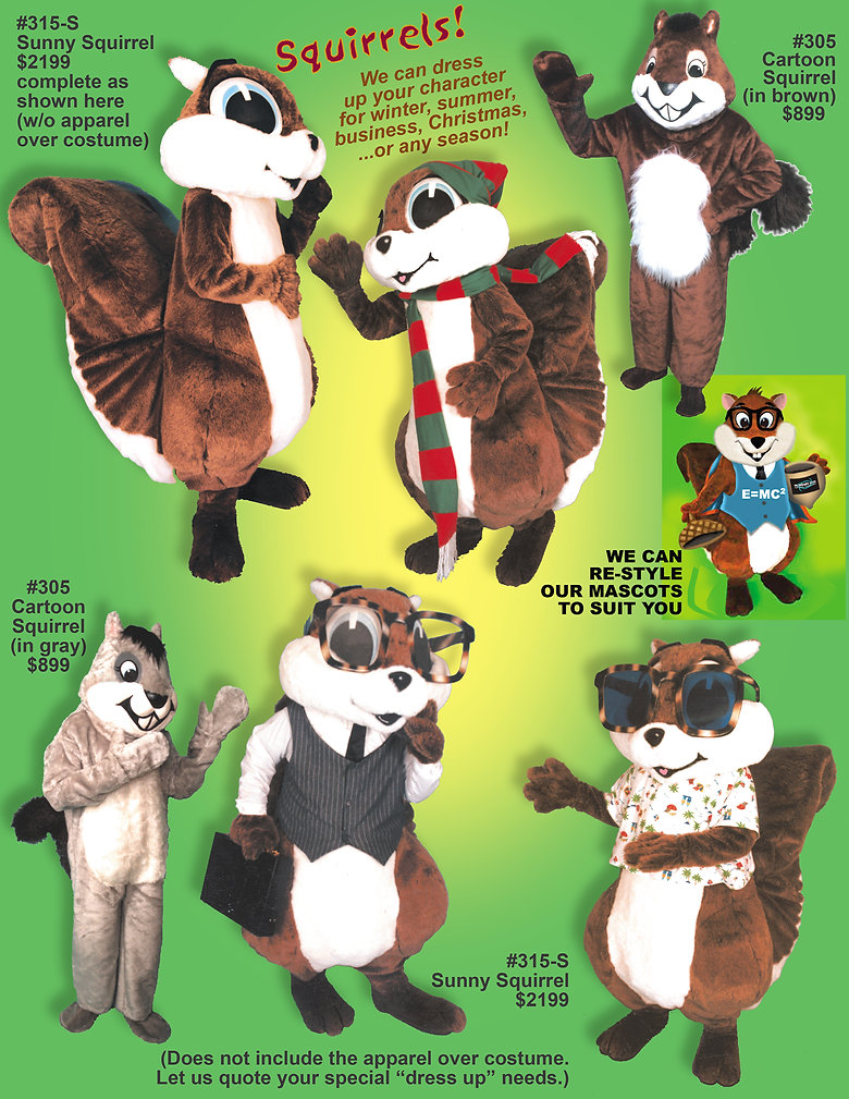 Facemakers Squirrel Mascot Costumes
